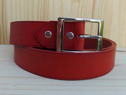 ceinture en cuir brique sans surpiqure de 3,5 cm de largeur