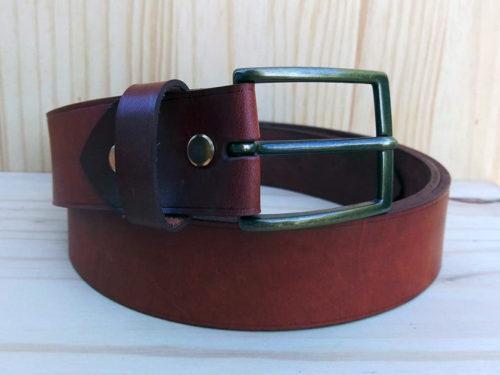 ceinture en cuir marron sans surpiqure de 3,5 cm de largeur