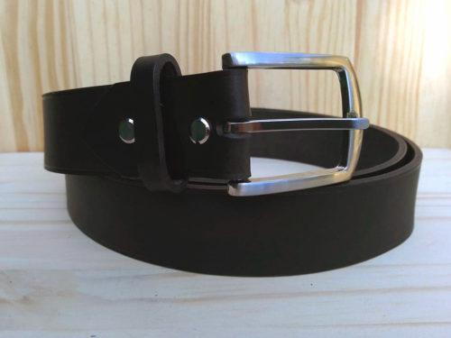 ceinture en cuir noir sans surpiqure de 3,5 cm de largeur