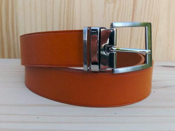 ceinture en cuir safran sans surpiqure de 3,5 cm de largeur