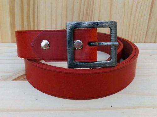 ceinture en cuir brique sans surpiqure de 3cm de largeur