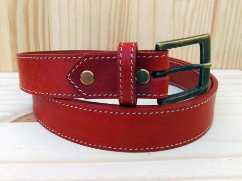 ceinture en cuir brique de 3 cm de largeur