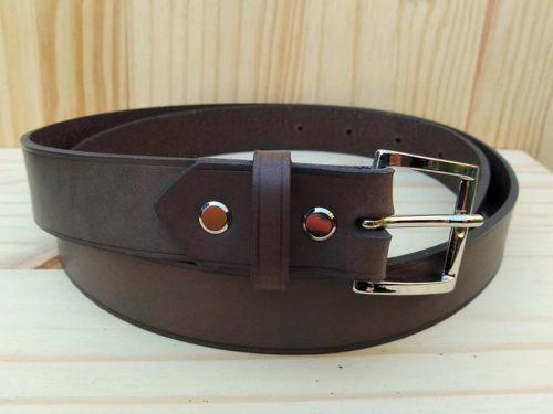 ceinture en cuir gris sans surpiqure de 3 cm de largeur