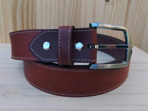 ceinture brique en cuir piquée de 3,5 cm de largeur