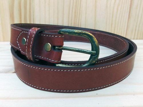 ceinture en cuir marron de 3 cm de largeur