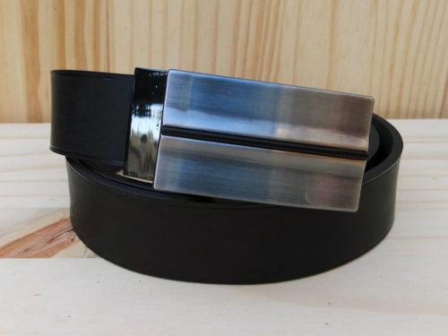 ceinture en cuir noir sans surpiqure de 3 cm de largeur