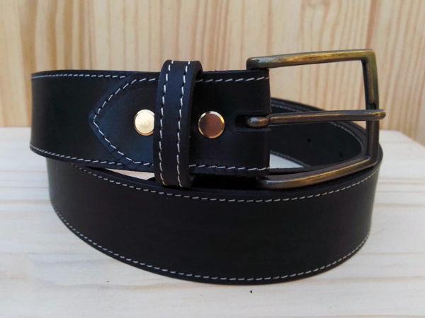 ceinture en cuir noir de 3,5 cm de largeur