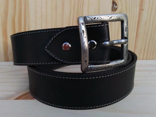 ceinture en cuir noir de 4 cm de largeur