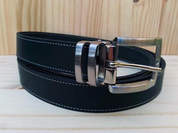 ceinture en cuir noir de 3 cm de largeur