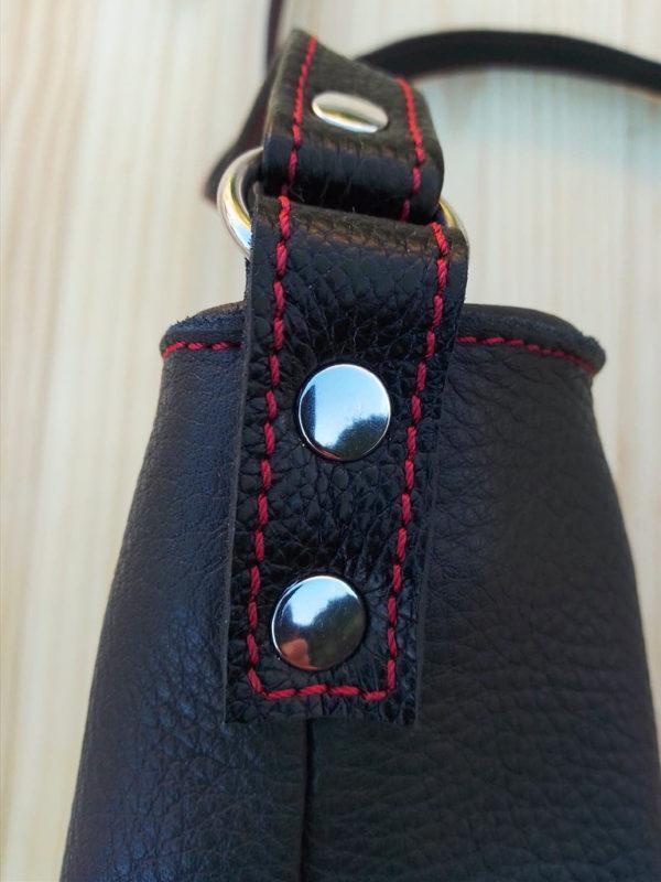 Sac MinaZYa en cuir gris Po&ZYa détail