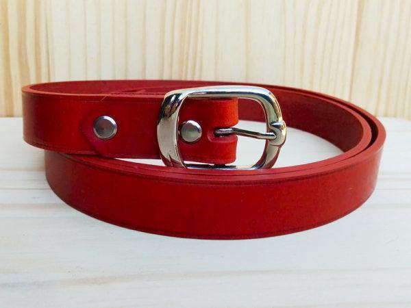 ceinture en cuir brique sans surpiqure de 2,5 cm de largeur