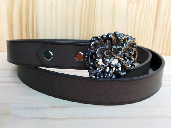 ceinture en cuir gris sans surpiqure de 2,5 cm de largeur