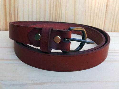ceinture en cuir marron sans surpiqure de 2,5 cm de largeur