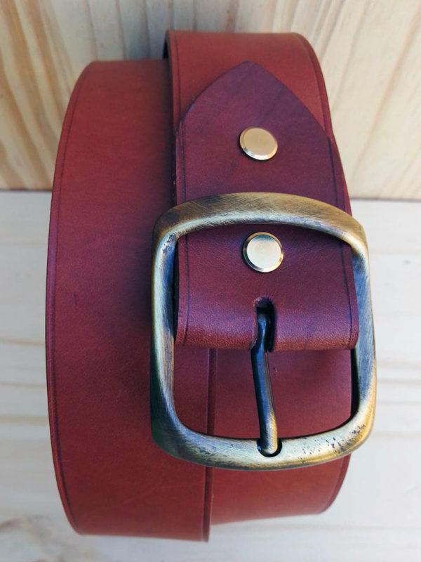 ceinture en cuir marron de 4 cm de largeur