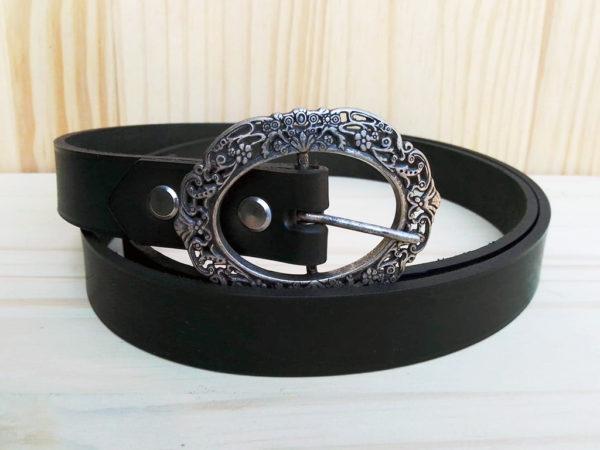 ceinture noire en cuir largeur 2,5cm