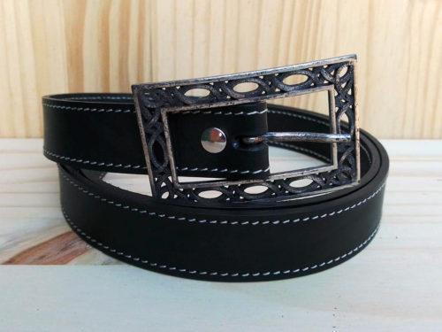ceinture en cuir noire piquée de 2,5 cm de largeur