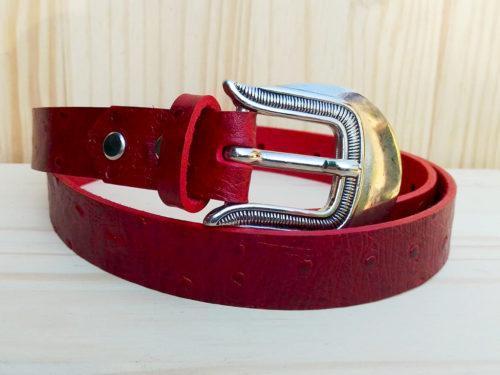 ceinture en cuir rouge sans surpiqure de 2,5 cm de largeur