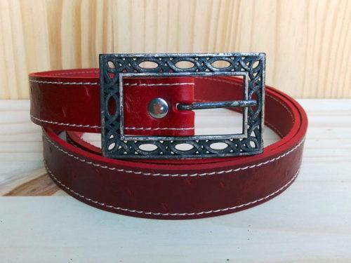 ceinture en cuir rouge piquée de 2,5 cm de largeur Po&ZYa