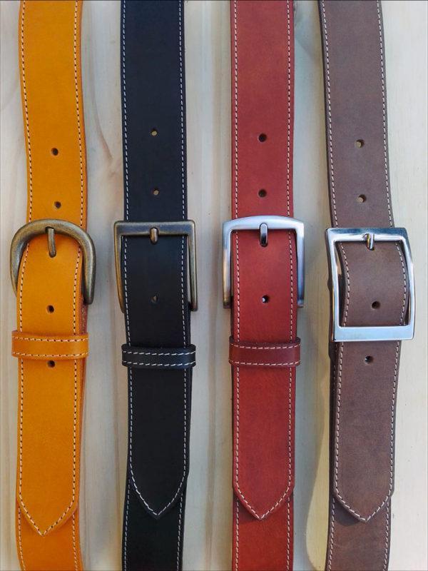 ensemble ceintures en cuir piquées de 3,5 cm de largeur