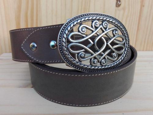 ceinture en cuir gris de 4 cm de largeur