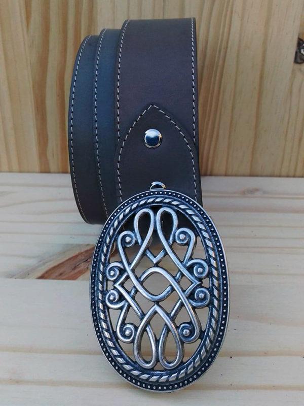 ceinture en cuir gris 4 cm