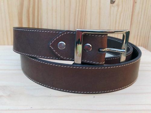 ceinture marron en cuir piquée de 3,5 cm de largeur