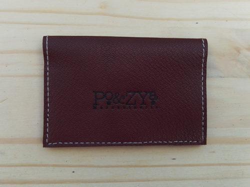 porte-cartes en cuir marron noisette