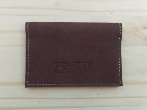 porte-cartes en cuir marron
