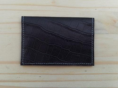 porte-cartes en cuir noir grain lézard