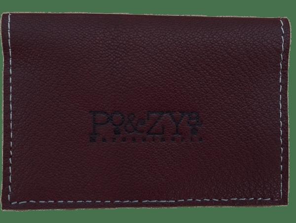 porte-cartes marron noisette en cuir
