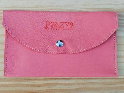 porte-documents en cuir rose saumon Po&ZYa