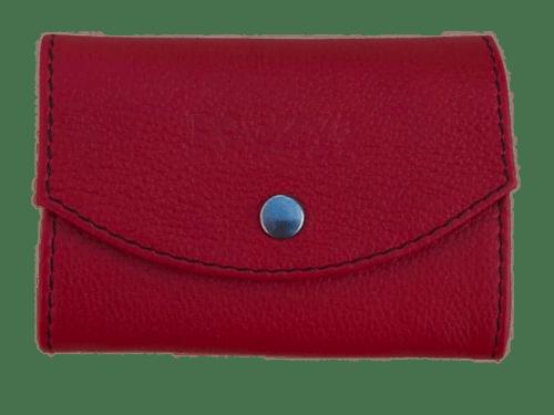 porte-monnaie soufflet rouge en cuir