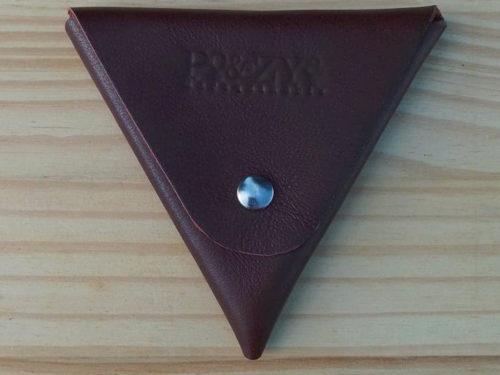 porte monnaie triangle en cuir marron