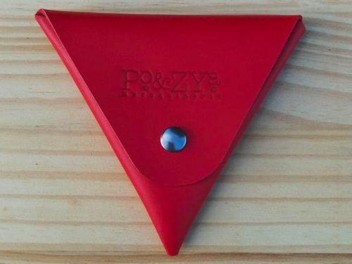 porte monnaie triangle en cuir rouge