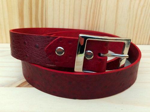 ceinture en cuir rouge sans surpiqure de 3 cm de largeur