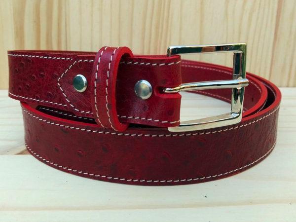 ceinture en cuir rouge de 3 cm de largeur