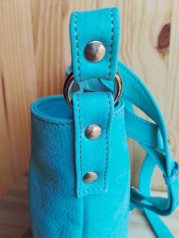 sac MinaZYa en cuir nubuck bleu détail
