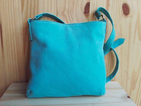 sac MinaZYa en cuir nubuck bleu dos