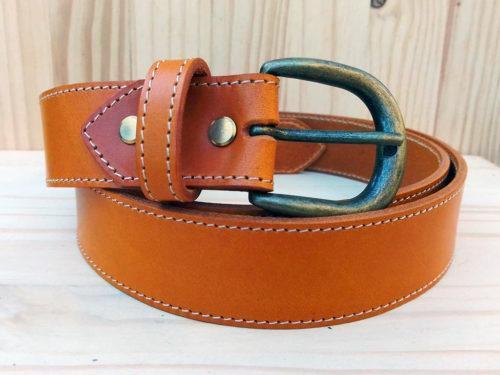 ceinture en cuir safran de 3,5 cm de largeur
