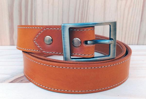 ceinture en cuir safran 3cm piquée