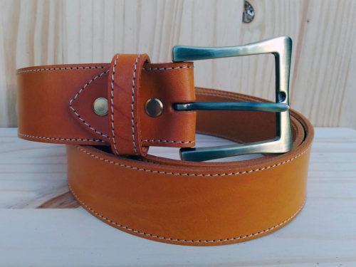ceinture en cuir safran surpiquée 4cm