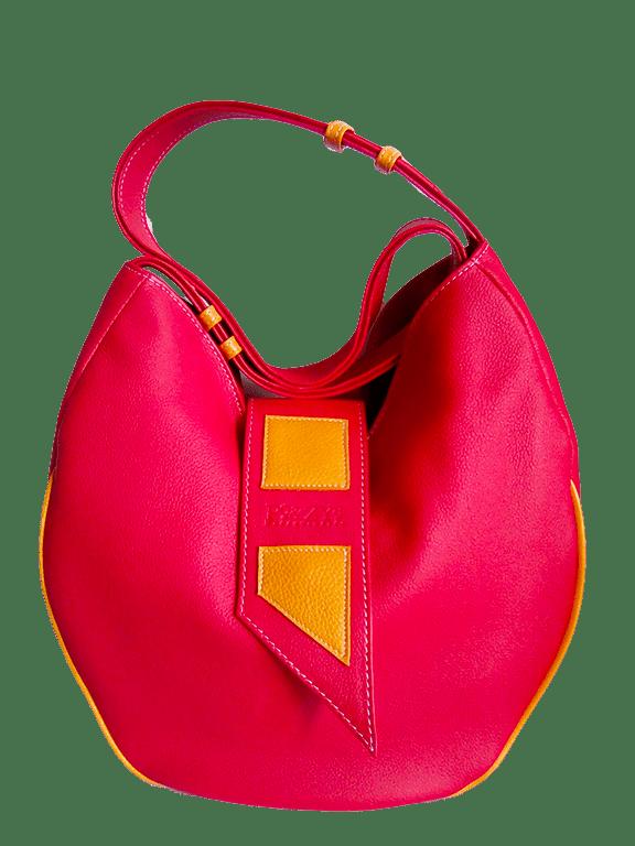 sac en cuir AmaZya corail by Po&Zya maroquinerie artisanle Bergerac - créations en cuir